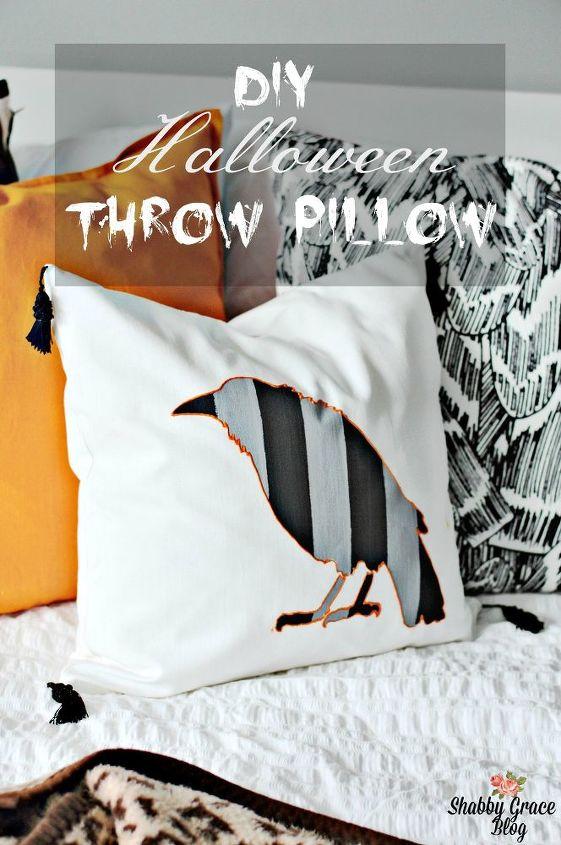 diy halloween throw pillow, crafts, halloween decorations, seasonal holiday decor