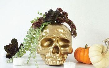DIY Gilded Skull Vase