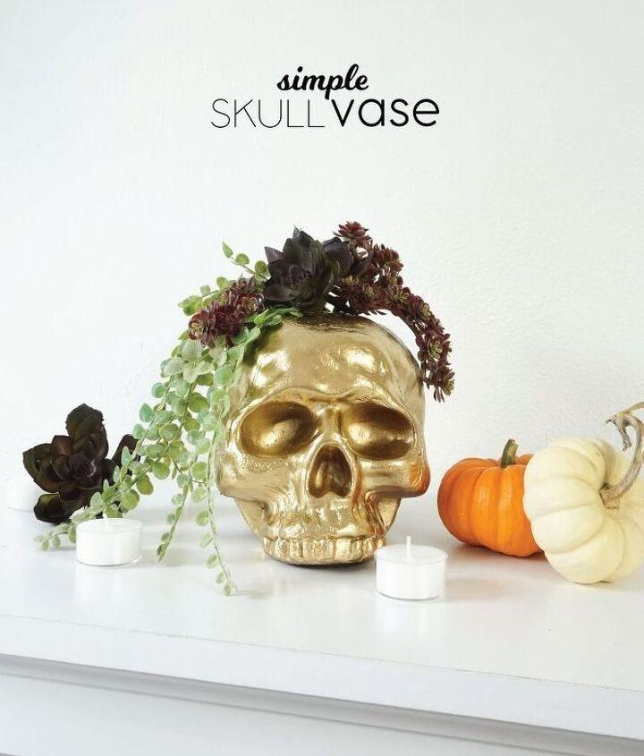 diy gilded skull vase, crafts, halloween decorations, seasonal holiday decor
