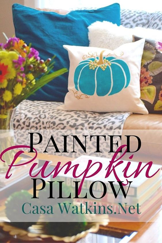 non traditional painted pumpkin pillow, crafts, halloween decorations, seasonal holiday decor
