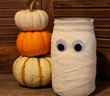 halloween mummy mason jar, crafts, halloween decorations, mason jars, repurposing upcycling, seasonal holiday decor