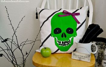 whimsical stenciled skull pillow createandshare, crafts, halloween decorations, seasonal holiday decor