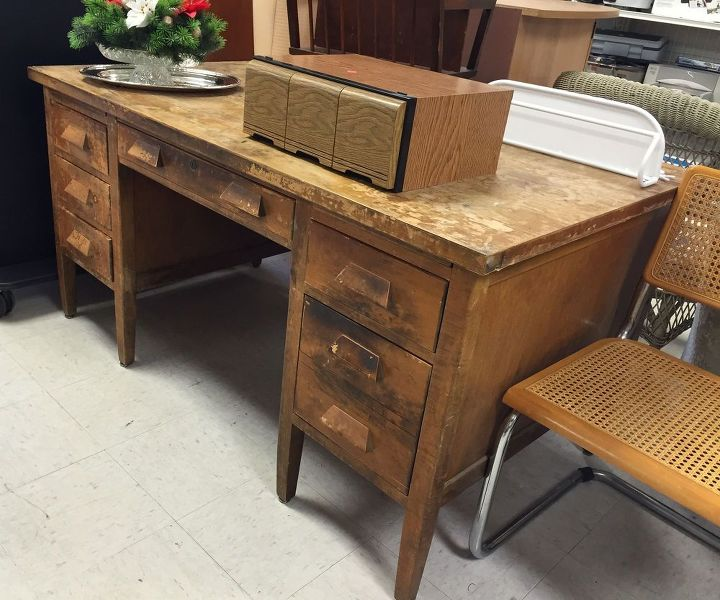 vintage teacher s desk makeover, painted furniture - Vintage Teacher's Desk Makeover Hometalk