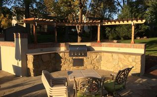 outdoor kitchen renovation, concrete masonry, kitchen design, landscape, outdoor living