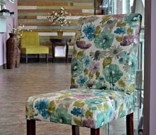 spa inspired upholstered parsons chair, painted furniture, repurposing upcycling, reupholster