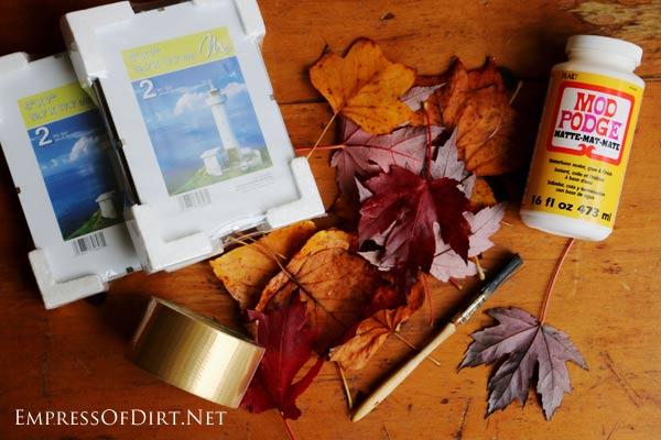 diy leaf lantern dollar store craft, crafts, seasonal holiday decor
