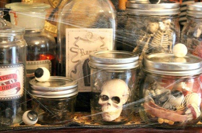 diy halloween spooky lab jars, halloween decorations, seasonal holiday decor