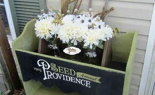 planter with antique typography, container gardening, painted furniture, repurposing upcycling
