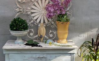 a potting bench a diy chandelier, lighting, outdoor furniture, painted furniture, repurposing upcycling