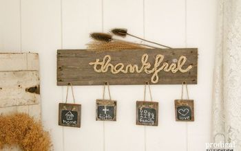 "How to Make a Reclaimed Wood & Rope ""Thankful"" Sign"