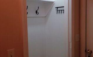 closet into mudroom makeover for less than 30, closet, diy, foyer, repurposing upcycling, storage ideas