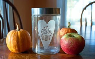 cupcake love etched glass dog treat jar, crafts