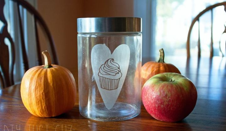 cupcake love etched glass dog treat jar, crafts