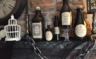 halloween potion bottles, crafts, halloween decorations, seasonal holiday decor
