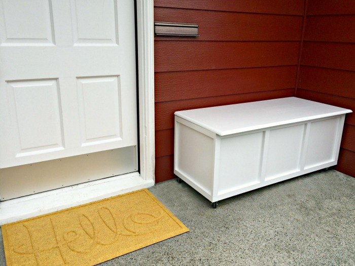 hide outdoor clutter in this diy storage bench, diy, organizing, outdoor furniture, storage ideas, woodworking projects