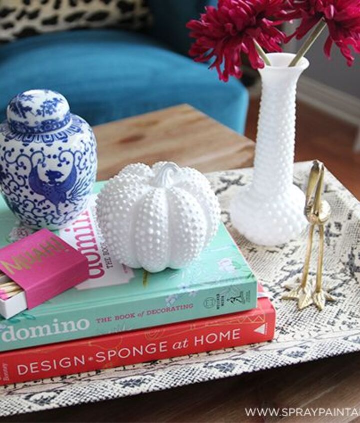 diy hobnail milk glass pumpkin, crafts, seasonal holiday decor