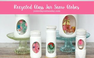 recycled jar snow globes, christmas decorations, crafts, decoupage, mason jars