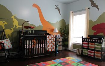 diy dinosaur themed nursery, bedroom ideas, home decor, painting, wall decor
