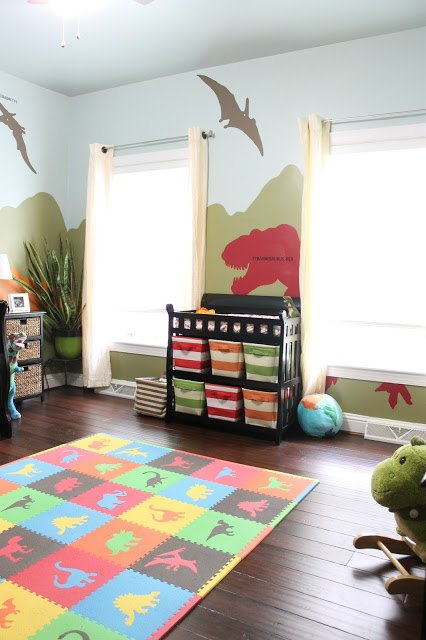 Dinosaur Themed Bedroom View In Gallery Fun Kids Es Alive With The Age Mural