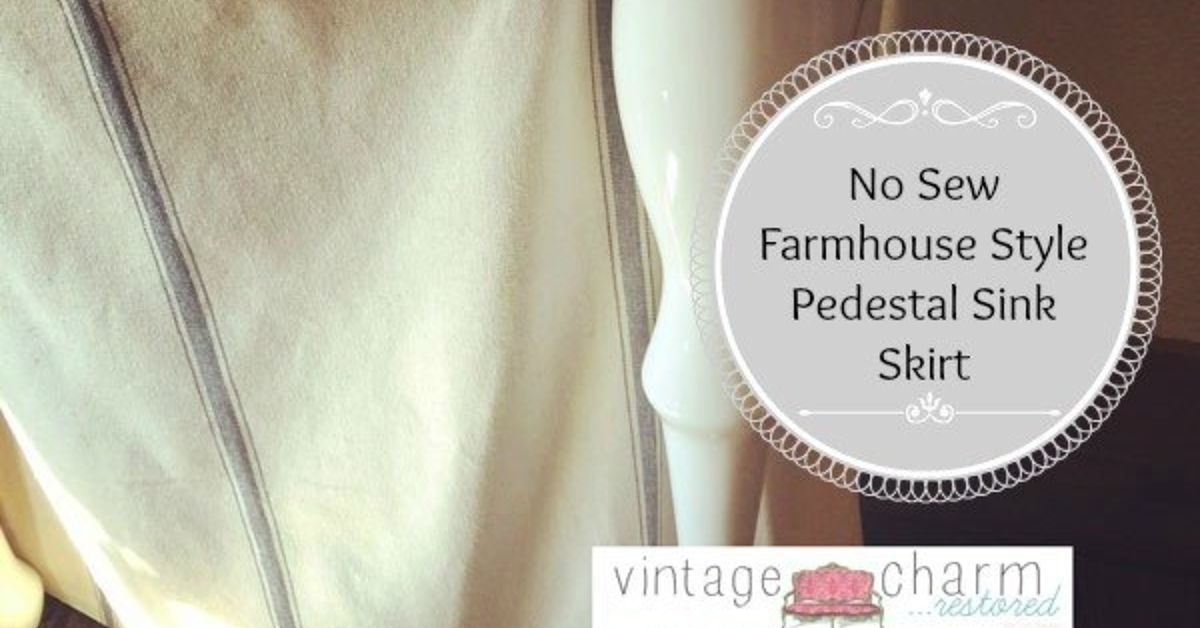 No Sew Farmhouse Pedestal Sink Skirt Hometalk