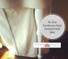no sew farmhouse pedestal sink skirt, bathroom ideas, home decor, reupholster