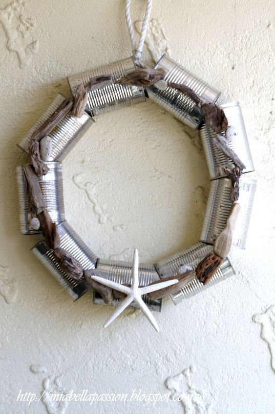 beachy tin can christmas wreath, christmas decorations, crafts, repurposing upcycling, wreaths