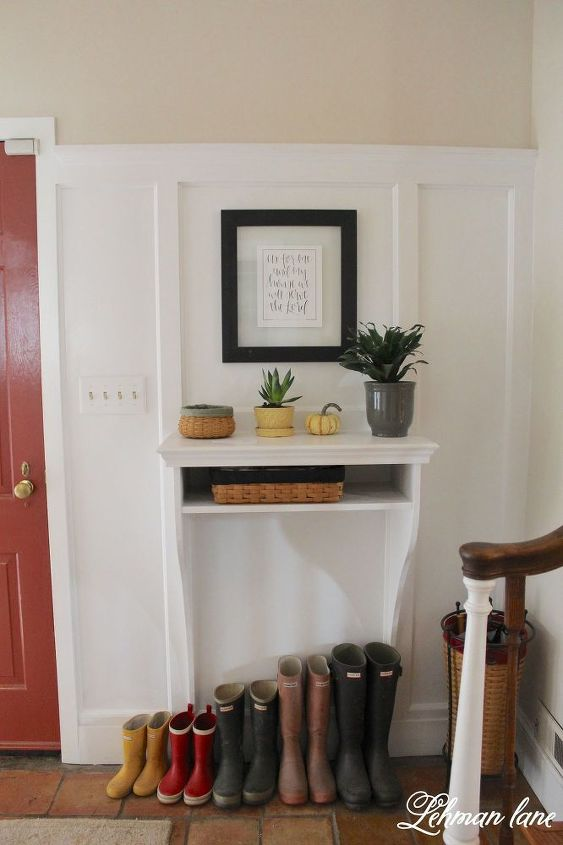 built in entryway table, diy, painted furniture, woodworking projects