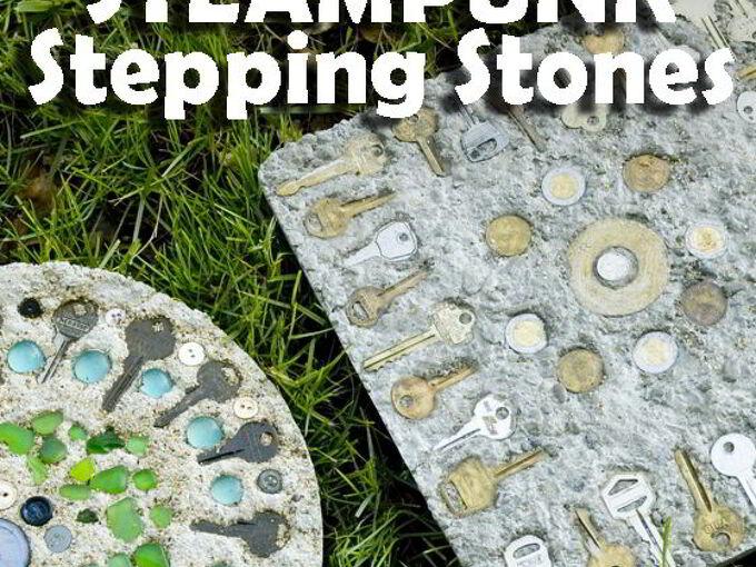 steampunk stepping stones, concrete masonry, crafts