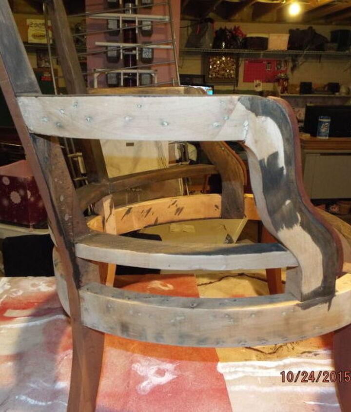 broken down slipper chair, painted furniture, reupholster