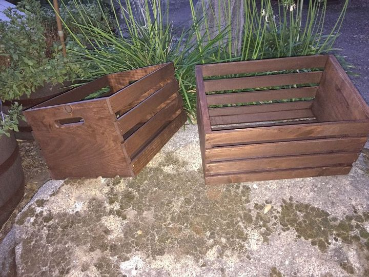Stained the crates Dark Walnut