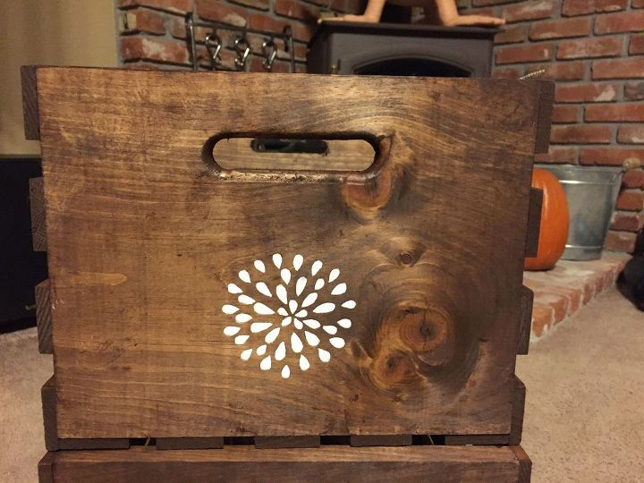 turn inexpensive plain jane crates into fancy decorative crates, crafts, repurposing upcycling, storage ideas