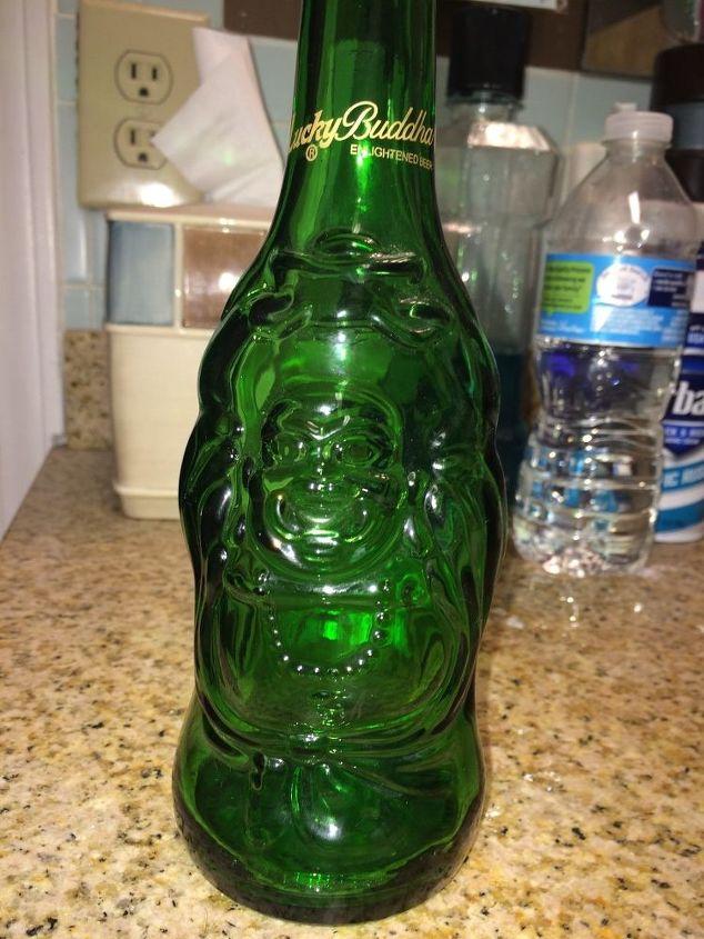 q buddha beer bottles, crafts, repurpose household items, repurposing upcycling