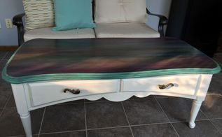 just a coffee table no way this is art spitchallenge, painted furniture, Yummy