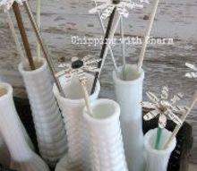 vintage knitting needles repurposed as paper flowers, crafts, repurposing upcycling