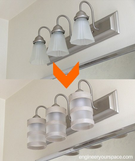 diy bathroom lighting fixture makeover, bathroom ideas, diy, electrical, lighting