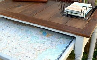 desk makeover with a map, painted furniture