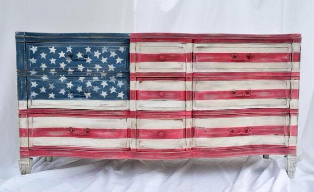 american flag dresser, painted furniture, patriotic decor ideas