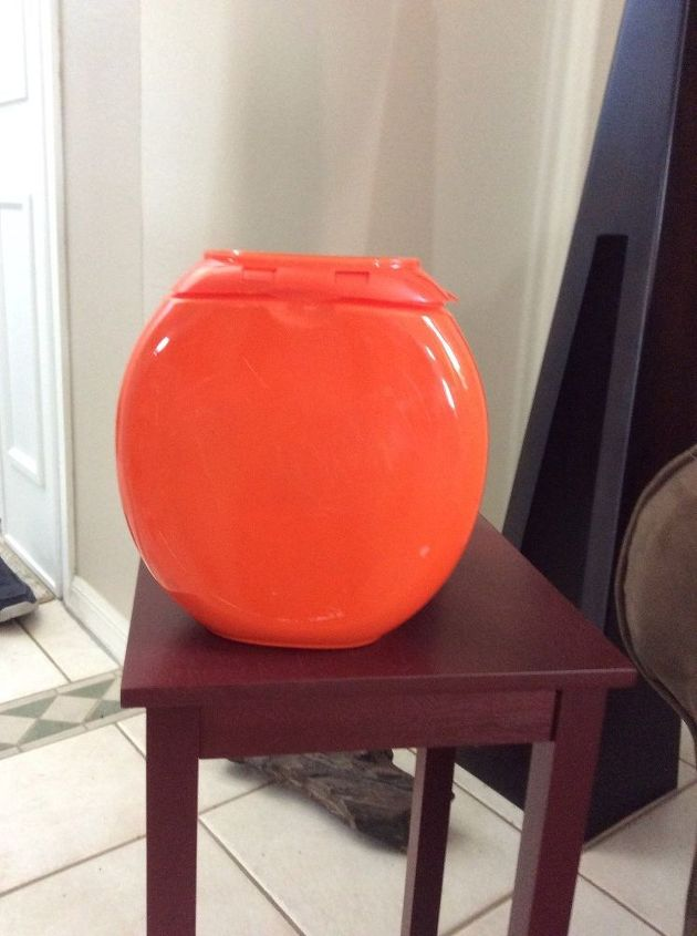 Tide pod container , taking to  recycling today ! Looked too much like a pumpkin !  I only had time to take label off front !  Many things you can do , magic marker face or cut out . Also drill holes in side for pail !