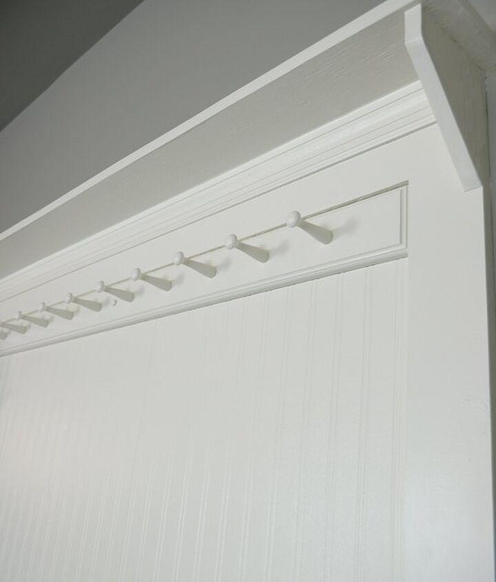 diy beadboard shaker peg coat rack, diy, foyer, wall decor, woodworking projects