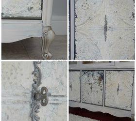 French China Cabinet Makeover With Milk Paint U0026 Antique Ceiling Tiles