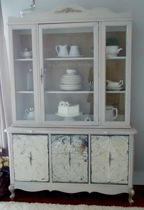 french china cabinet makeover with milk paint antique ceiling tiles, painted  furniture - French China Cabinet Makeover With Milk Paint & Antique Ceiling