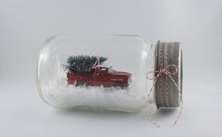 vintage jar snow globe, christmas decorations, crafts, repurposing upcycling, seasonal holiday decor, Tada Christmas in jar