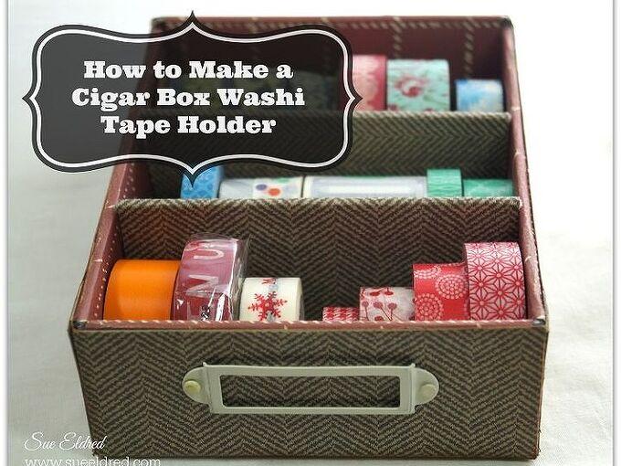 cigar box washi tape holder, crafts, repurposing upcycling