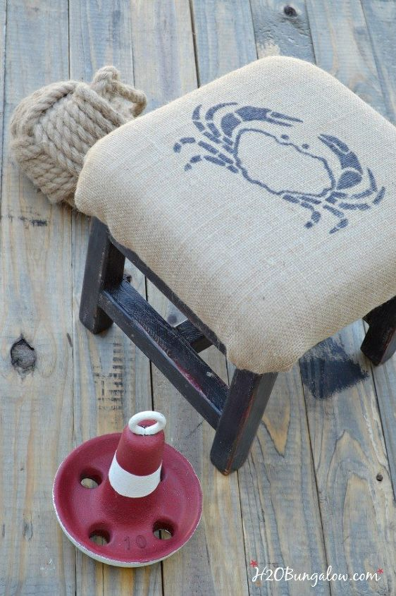 coastal burlap upholstered footstool, painted furniture, repurposing upcycling, reupholster