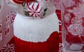 red white diy christmas mason jars, christmas decorations, crafts, mason jars