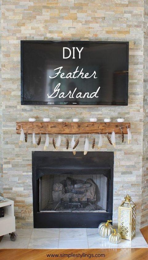 diy gold tip feather garland, crafts, seasonal holiday decor