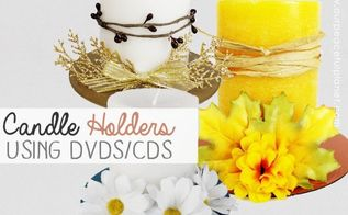 beautiful diy candle holders from cds dvds, crafts, how to
