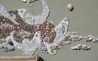 diy pebble an d shell mosaic, crafts