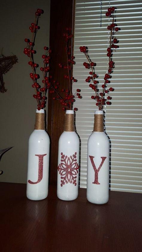 joy wine bottle christmas decor, christmas decorations, crafts, seasonal holiday decor