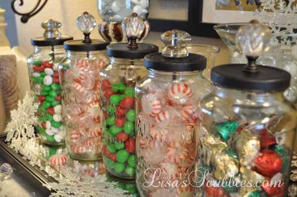 diy christmas candy jars christmas decorations crafts seasonal holiday decor